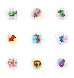 Cursor icons set pop-art style vector image