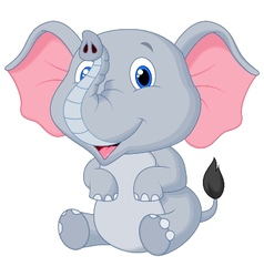 Cute baby elephant cartoon vector image
