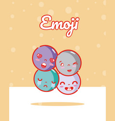 Cute rounds emojis vector