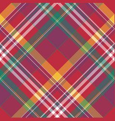 diagonal red check plaid seamless fabric texture vector image