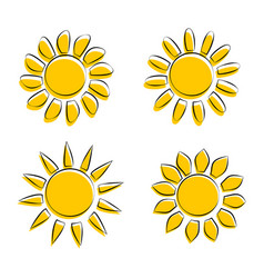 different sun icons on white background vector image
