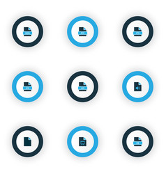 Document icons colored set with file audio file vector