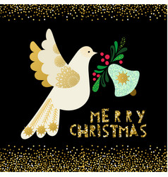 Dove of peace christmas invitation card vector