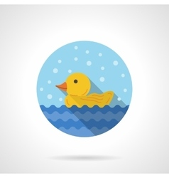 Duckling round flat color icon vector image