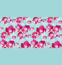 Elegant pink and pale blue peony flowers pattern vector