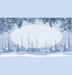 empty oval on a cartoon winter background with vector image