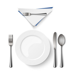 empty plate with spoon knife and fork template vector image