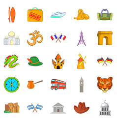 Excursion trip icons set cartoon style vector