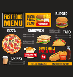 fast food menu template takeaway dishes vector image