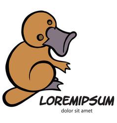 Funny happy cartoon platypus logo template vector