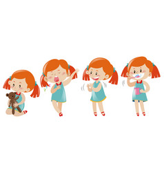 girl in four different actions vector image