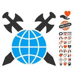 Global protection icon with love bonus vector