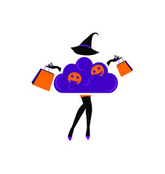 halloween sale fashion girl vector image