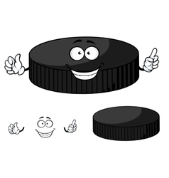 Happy cartoon hockey puck waving its hands vector image