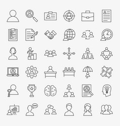 Human resources line icons set vector