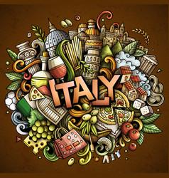 Italy hand drawn cartoon doodles vector