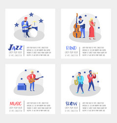 Jazz concert poster banner music characters vector