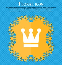 King Crown Floral flat design on a blue abstract vector image