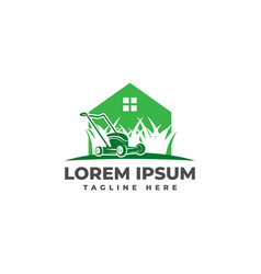 lawn mower home logo icon vector image