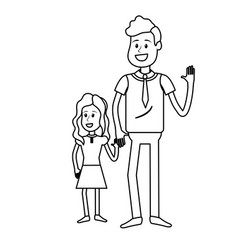 Line father with his daughter together and holding vector