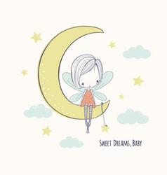 Little fairy girl on moon childish doodle vector