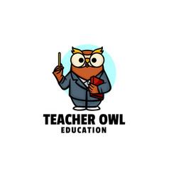 Logo teacher owl mascot cartoon style vector