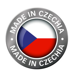 made in czechia flag metal icon vector image