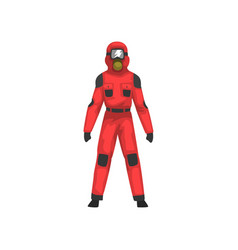 man in red protective suit and helmet vector image