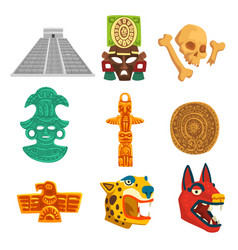 Maya civilization ethnic symbols set american vector