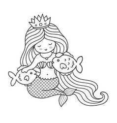 Mermaid with two big fish vector