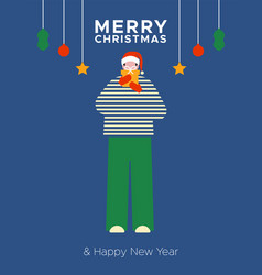 merry year man open gift box card vector image