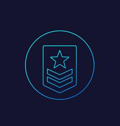 Military rank icon linear vector