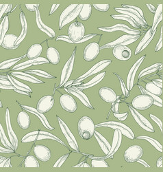 Monochrome seamless pattern with olive tree vector