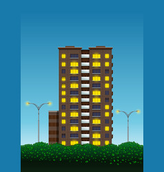Multi-storey house green bushes and street lights vector