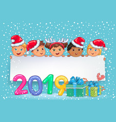 New year banner 2019 with cute kids vector