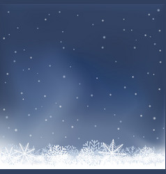Night snow falls background vector