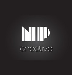 np n p letter logo design with white and black vector image