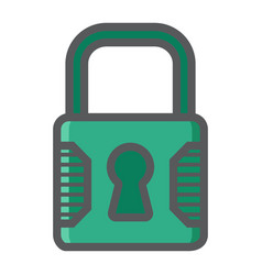 Padlock colorful line icon security and lock vector
