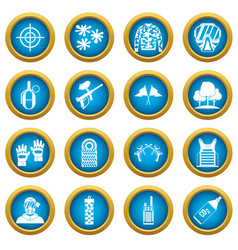 Paintball icons blue circle set vector