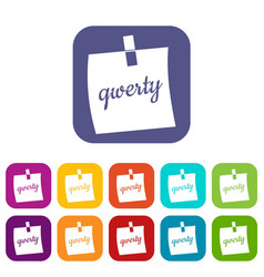 paper sheet with text qwerty icons set flat vector image