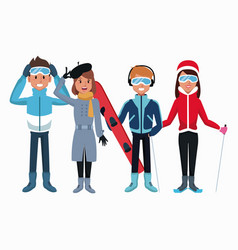 people in winter cartoon vector image