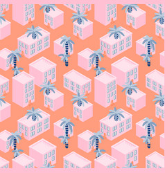 pink house blocks seaside seamless pattern vector image