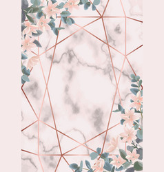 Pink marble and geometric background vector