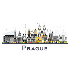prague czech republic city skyline with color vector image
