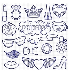 Princess Fashion Patches Coloring Set vector image