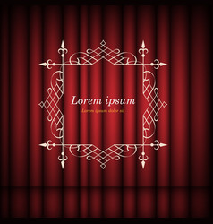 red curtains and vintage frame with copy space vector image