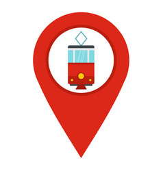 Red map pointer with tram symbol icon isolated vector
