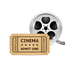 retro cinema ticket and film reel of designer vector image