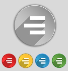 Right-aligned icon sign Symbol on five flat vector