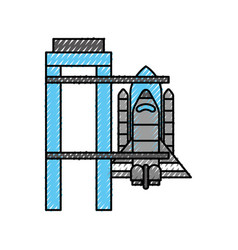 rocket standing on the platform ready to launch in vector image